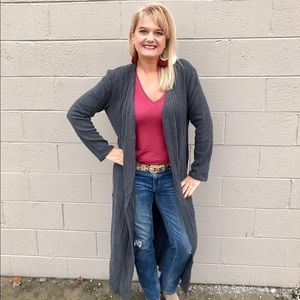 Umgee Plus Size Duster Open Front Cardigan Sweater